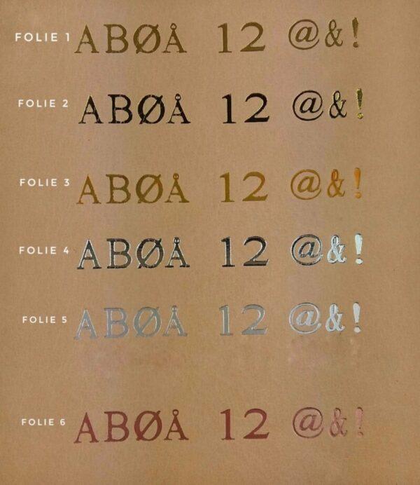foliefarver, folietryk, folietryk på læder, personligt tryk, guldtryk, sølvtryk
