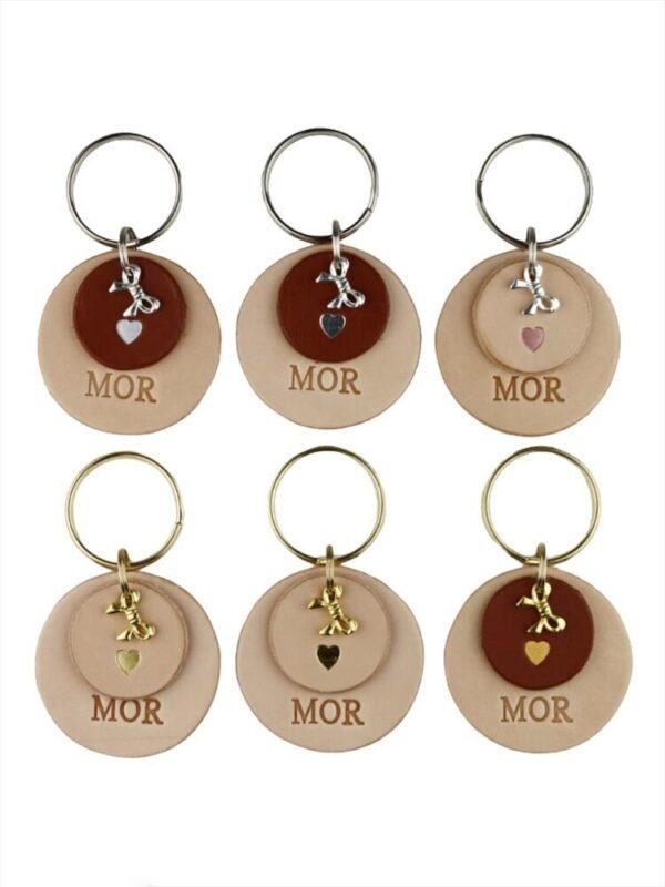 Rund nøglering til mor, lædernøglering, læder nøglering, nøglering mor, mors dag, fødselsdagsgave til mor, gave til mor, leathergoods, leather goods, handmade leather goods,