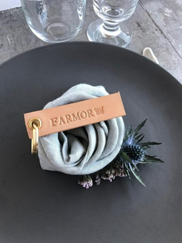 Bordkort i læder, læderbordkort, læder bordkort, personligt bordkort, DIY wedding, bryllup, borddækning, konfirmation, fest, stor fest, havefest