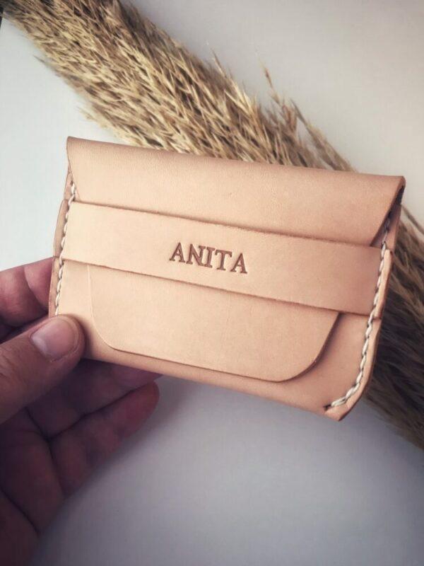 Læderpung, læderpung med personligt tryk, læder pung, personlig pung, gaveide, gave til fars dag, kortpung, kortholder i læder,