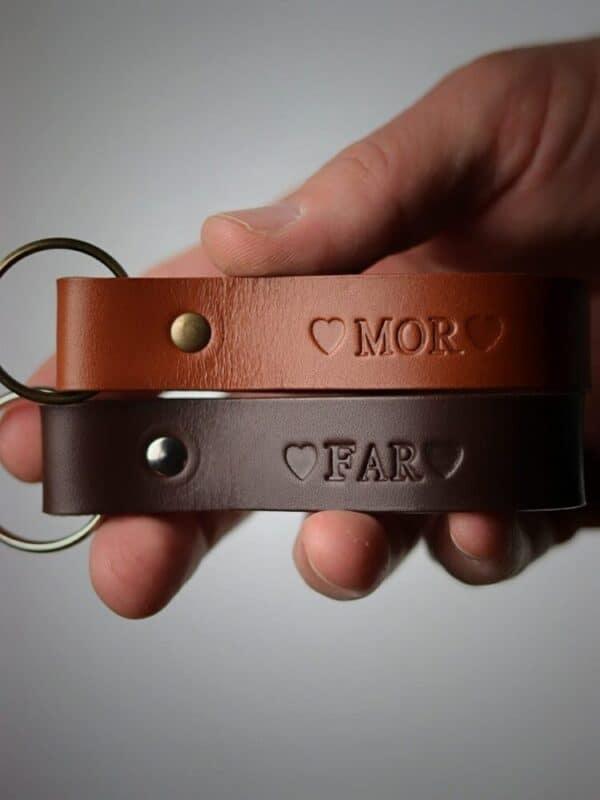 Bred læder nøglering, læder nøglering, nøglering med tryk, læder nøglering med tryk, personlig nøglering